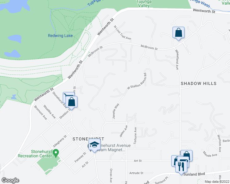 map of restaurants, bars, coffee shops, grocery stores, and more near 10805 W Stallion Ranch Rd in Sunland