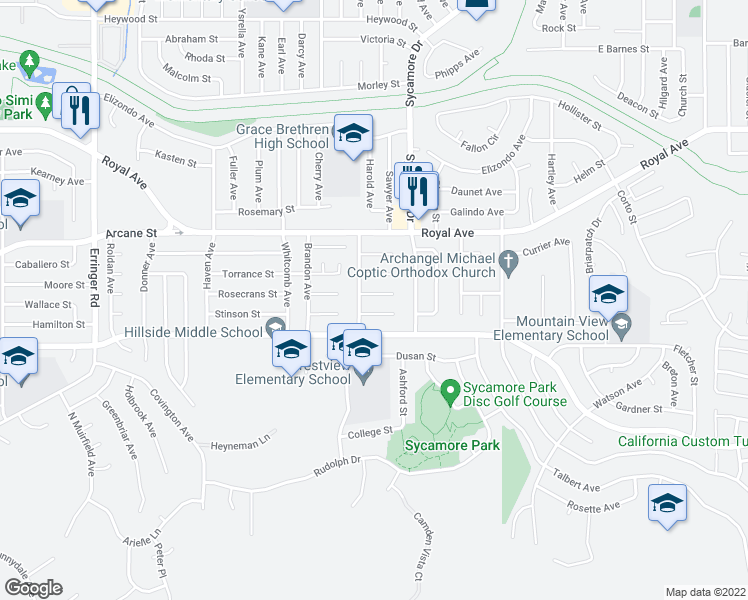 map of restaurants, bars, coffee shops, grocery stores, and more near 2430 Invar Ct in Simi Valley