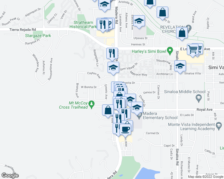 map of restaurants, bars, coffee shops, grocery stores, and more near 1588 Acapulco Ct in Simi Valley