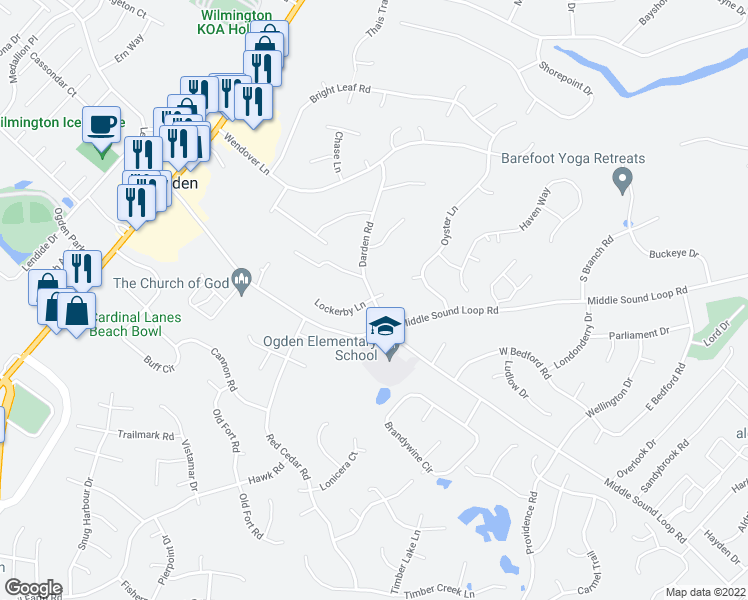 map of restaurants, bars, coffee shops, grocery stores, and more near 7200 Darden Road in Wilmington
