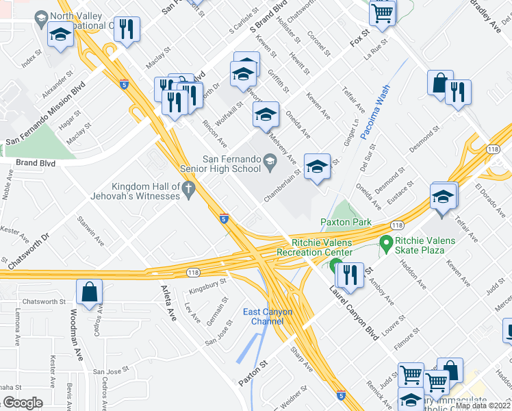 map of restaurants, bars, coffee shops, grocery stores, and more near 10943 Laurel Canyon Boulevard in San Fernando