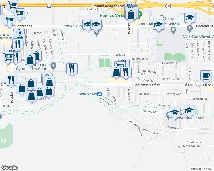 map of restaurants, bars, coffee shops, grocery stores, and more near 4991 East Los Angeles Avenue in Simi Valley