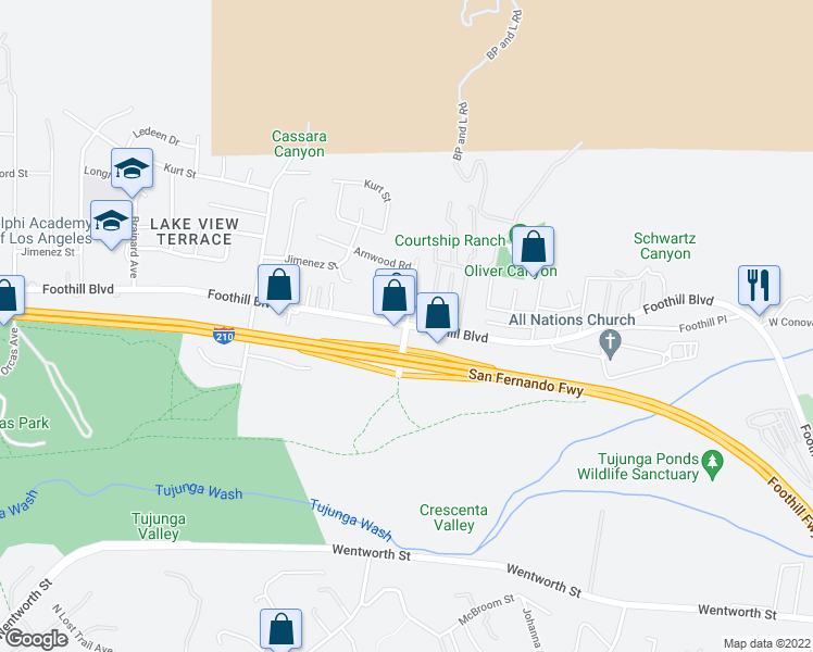 map of restaurants, bars, coffee shops, grocery stores, and more near Foothill Blvd & Wheatland Ave in Los Angeles