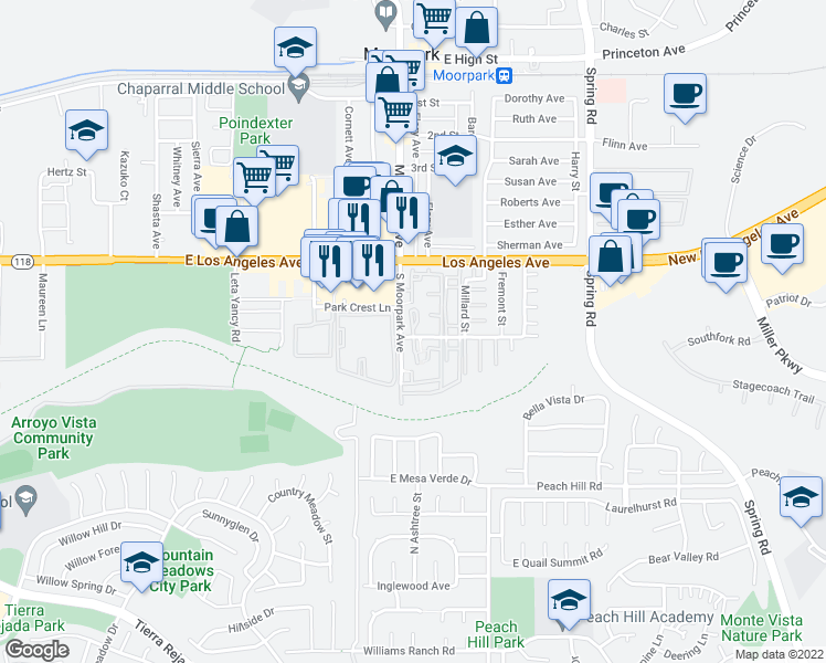 map of restaurants, bars, coffee shops, grocery stores, and more near 51-63 Majestic Ct in Moorpark