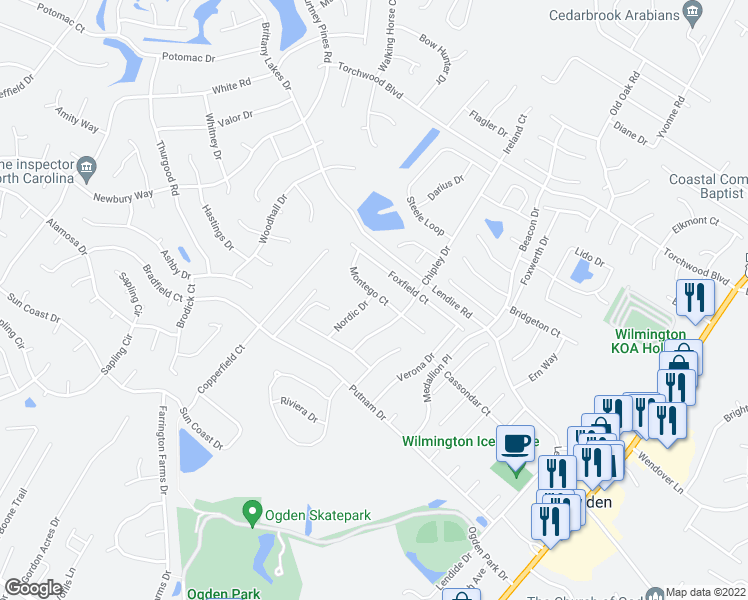 map of restaurants, bars, coffee shops, grocery stores, and more near 515 Montego Court in Wilmington