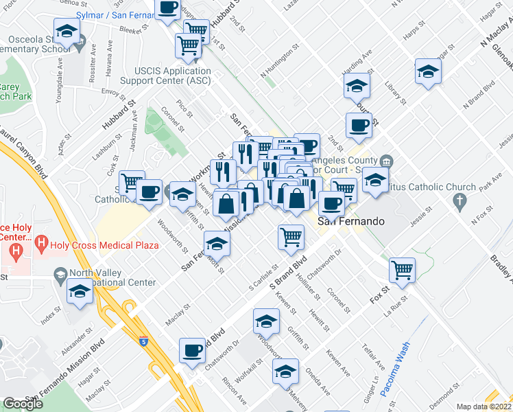 map of restaurants, bars, coffee shops, grocery stores, and more near Coronel St in San Fernando