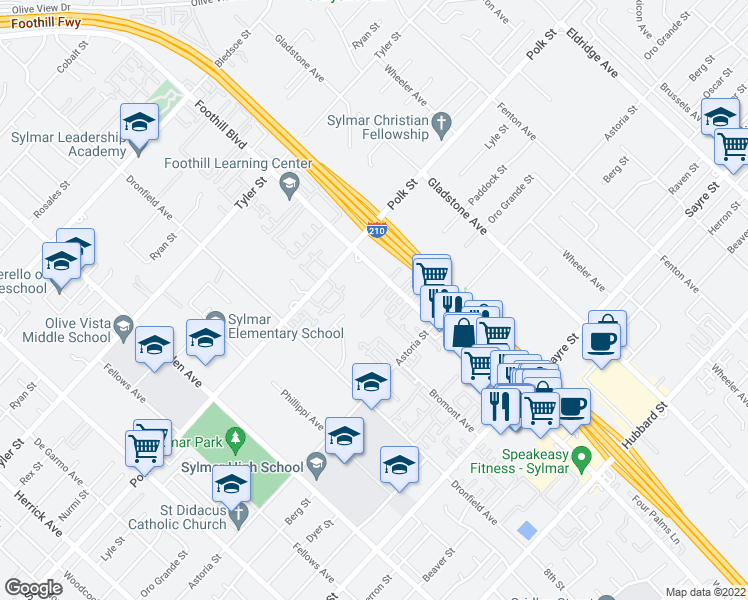 map of restaurants, bars, coffee shops, grocery stores, and more near 14040 Foothill Blvd in Los Angeles