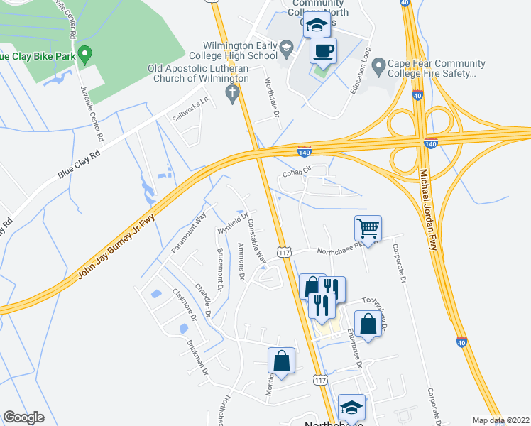map of restaurants, bars, coffee shops, grocery stores, and more near 4336 Wynfield Drive in Wilmington
