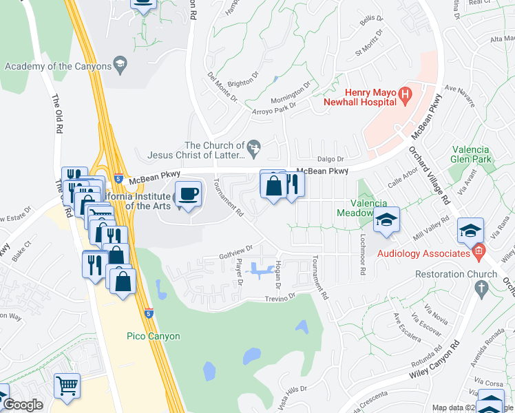 map of restaurants, bars, coffee shops, grocery stores, and more near 24514 McBean Pkwy in Santa Clarita