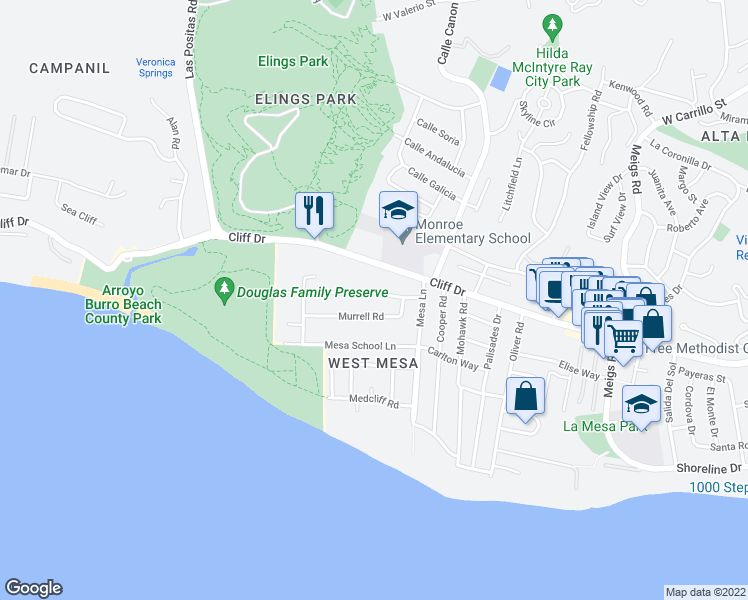 map of restaurants, bars, coffee shops, grocery stores, and more near 2451 Borton Dr in Santa Barbara