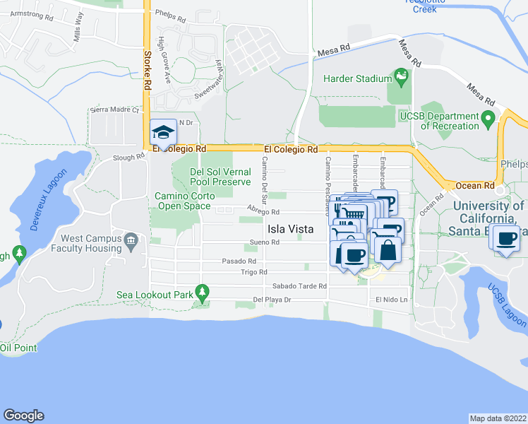 map of restaurants, bars, coffee shops, grocery stores, and more near 6690 Abrego Rd in Goleta