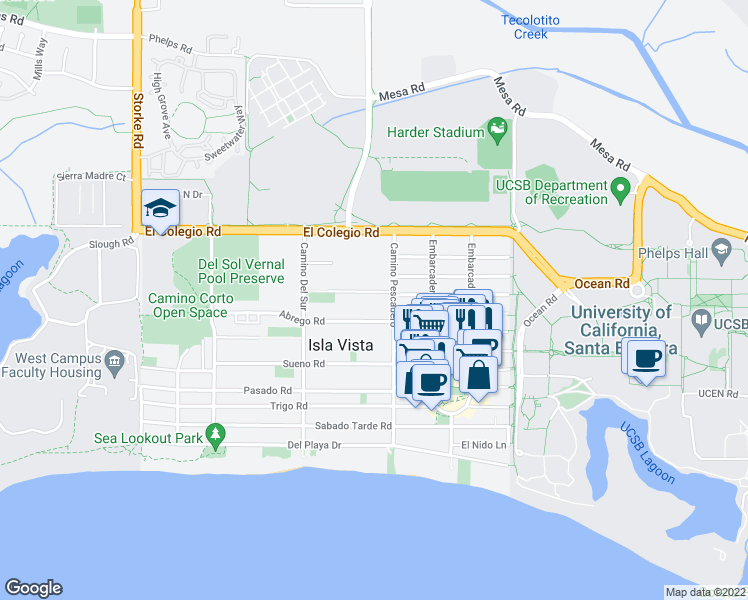 map of restaurants, bars, coffee shops, grocery stores, and more near 6621 Picasso Rd in Isla Vista