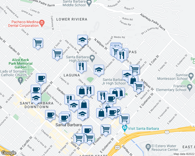map of restaurants, bars, coffee shops, grocery stores, and more near 522 E Canon Perdido St in Santa Barbara