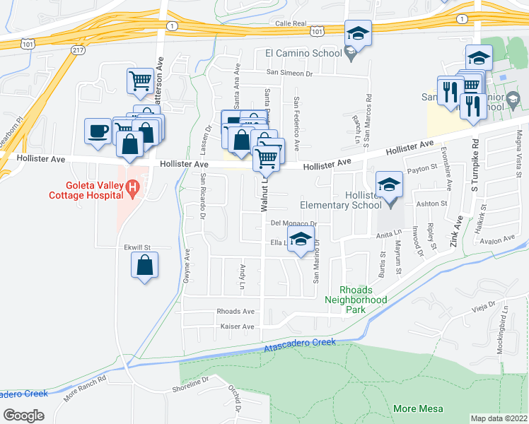 map of restaurants, bars, coffee shops, grocery stores, and more near Walnut Ln & Evalita Ln in Goleta