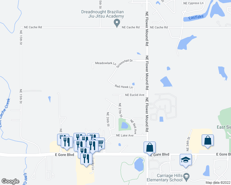 map of restaurants, bars, coffee shops, grocery stores, and more near 2612-2614 Northeast Euclid Avenue in Lawton