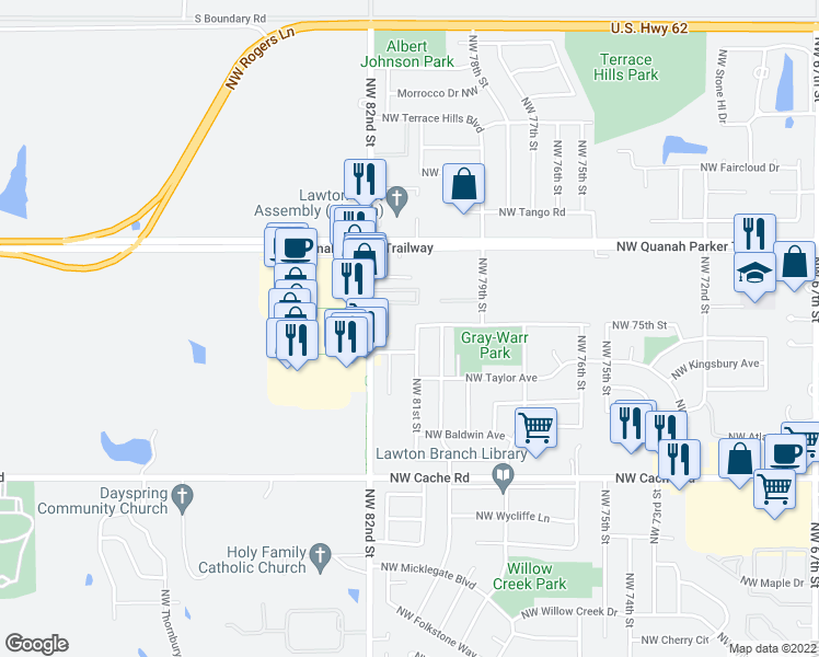 map of restaurants, bars, coffee shops, grocery stores, and more near 7948 Northwest Crossland Circle in Lawton