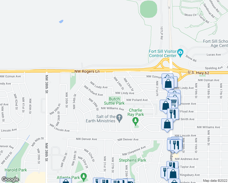 map of restaurants, bars, coffee shops, grocery stores, and more near 2412 NW Lindy Ave in Lawton