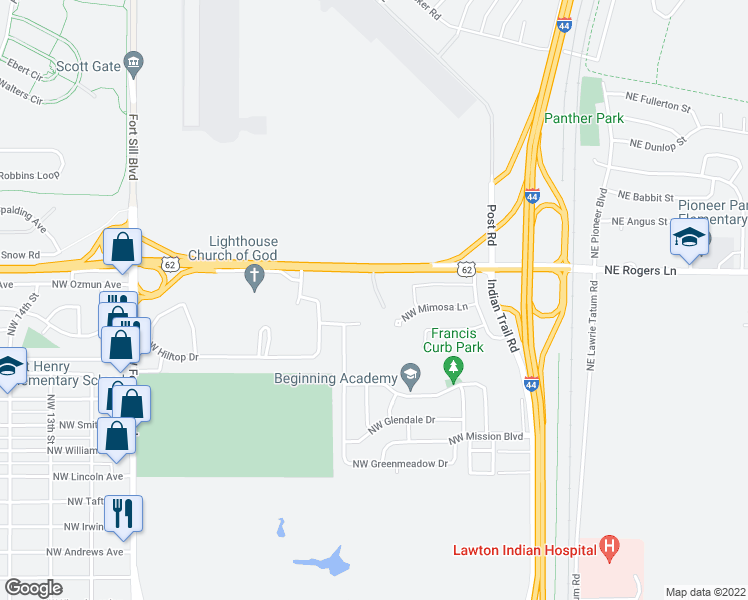 map of restaurants, bars, coffee shops, grocery stores, and more near 403 NW Mimosa Ln in Lawton