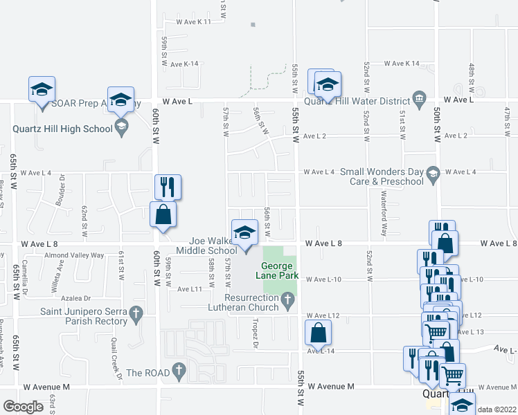 map of restaurants, bars, coffee shops, grocery stores, and more near 5603 West Avenue L 6 in Lancaster