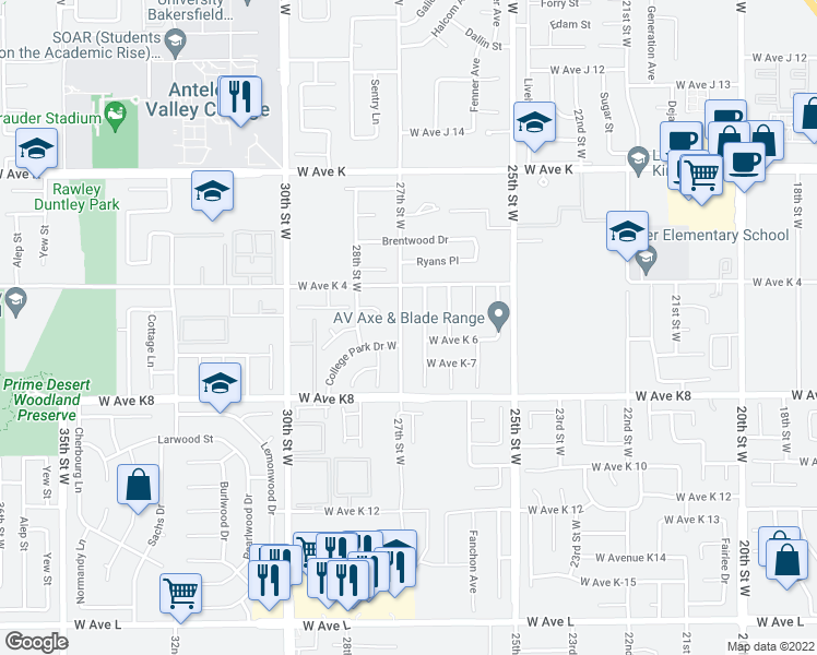 map of restaurants, bars, coffee shops, grocery stores, and more near 43300 27th Street West in