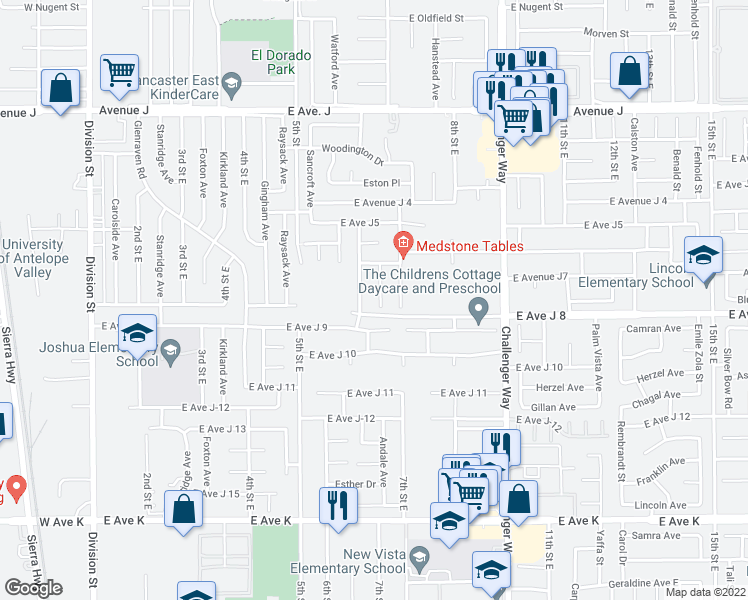 map of restaurants, bars, coffee shops, grocery stores, and more near 44022 Andale Av