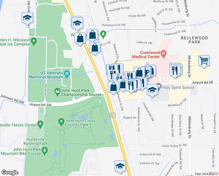 map of restaurants, bars, coffee shops, grocery stores, and more near Airport Rd SW in Huntsville