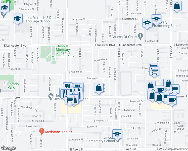 map of restaurants, bars, coffee shops, grocery stores, and more near 44514 Palm Vista Ave in Lancaster