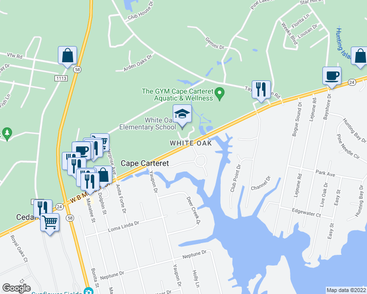 map of restaurants, bars, coffee shops, grocery stores, and more near 204 Bayside Drive in Cape Carteret