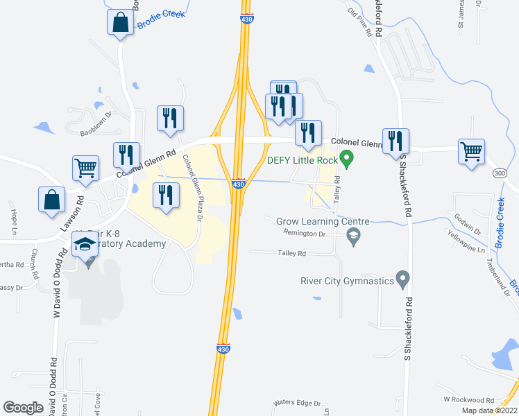 map of restaurants, bars, coffee shops, grocery stores, and more near 21 Remington Drive in Little Rock
