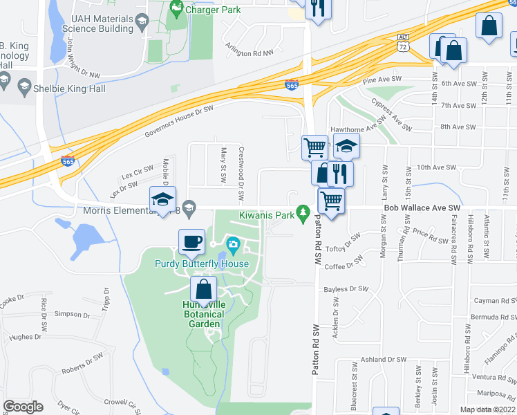 map of restaurants, bars, coffee shops, grocery stores, and more near Bob Wallace Ave SW & Judith Ln SW in Huntsville