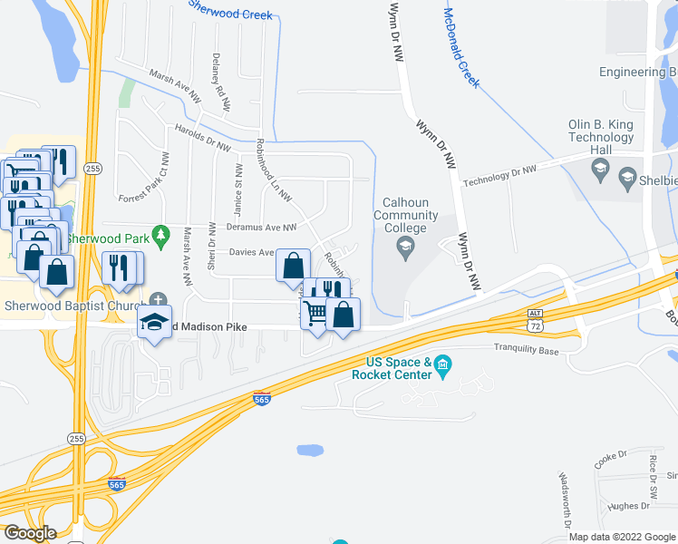 map of restaurants, bars, coffee shops, grocery stores, and more near 6353-6399 Karen Davie Drive Northwest in Huntsville