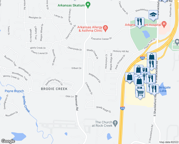 map of restaurants, bars, coffee shops, grocery stores, and more near 2244-2448 Forest Creek Drive in Little Rock