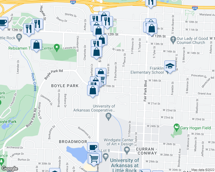 map of restaurants, bars, coffee shops, grocery stores, and more near W 19th St & S Grant St in Little Rock