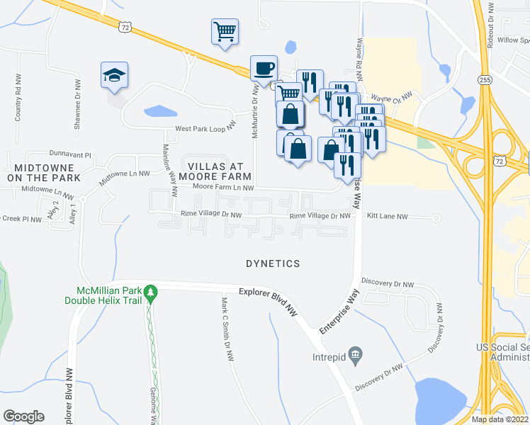 map of restaurants, bars, coffee shops, grocery stores, and more near 6235-6239 Rime Village Drive Northwest in Huntsville