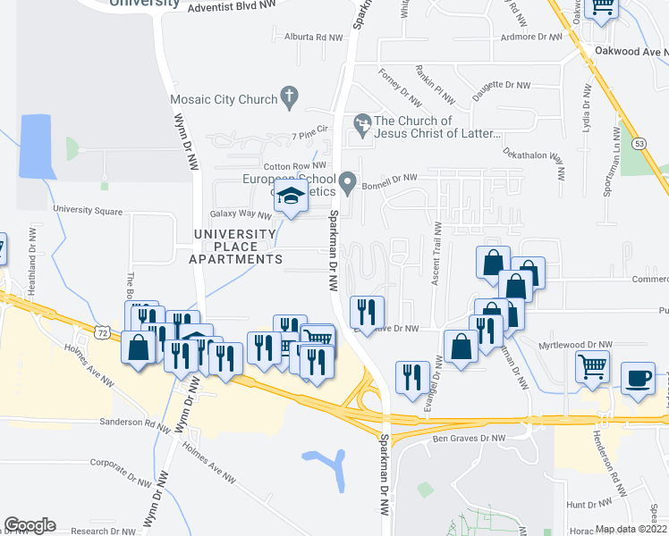 map of restaurants, bars, coffee shops, grocery stores, and more near 1541 Sparkman Drive Northwest in Huntsville