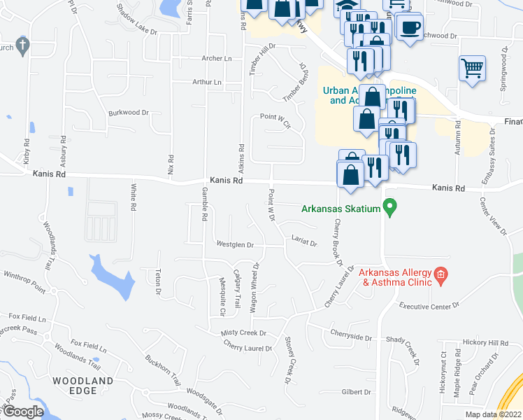 map of restaurants, bars, coffee shops, grocery stores, and more near 6 Spur Cove in Little Rock