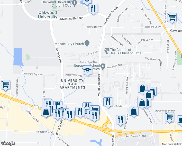 map of restaurants, bars, coffee shops, grocery stores, and more near 4900-4982 Galaxy Way Northwest in Huntsville