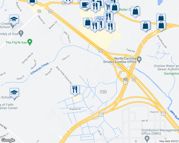 map of restaurants, bars, coffee shops, grocery stores, and more near 1182-1252 Canady Road in Jacksonville