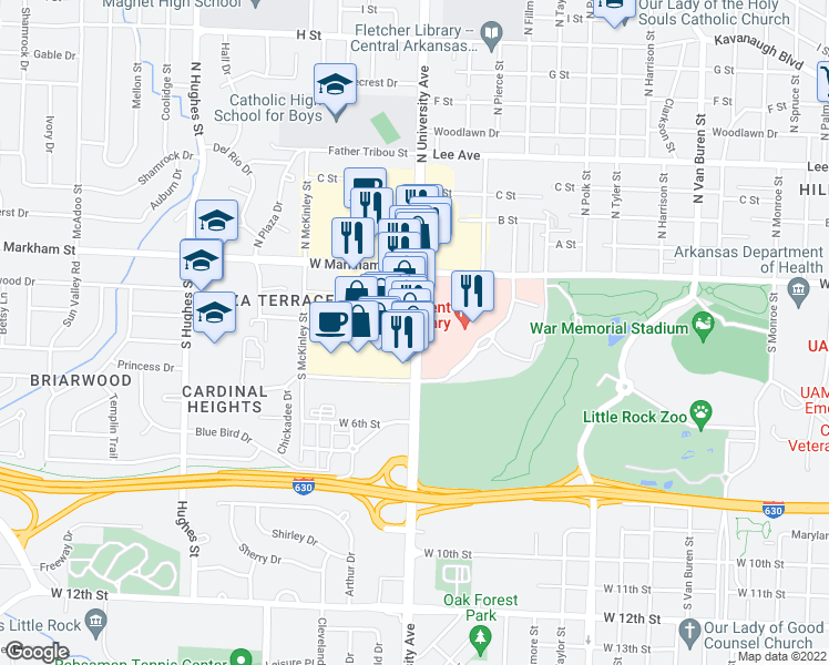 map of restaurants, bars, coffee shops, grocery stores, and more near 314 South University Avenue in Little Rock