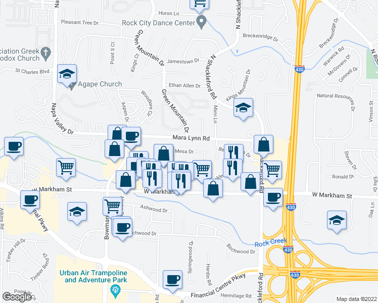 map of restaurants, bars, coffee shops, grocery stores, and more near 11305-11375 Mesa Drive in Little Rock