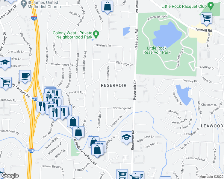 map of restaurants, bars, coffee shops, grocery stores, and more near 18 Ludington Cove in Little Rock