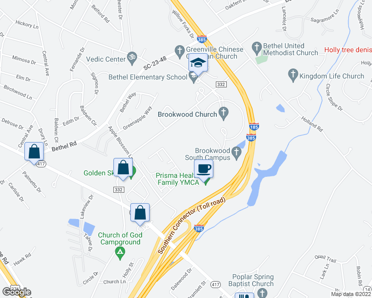 map of restaurants, bars, coffee shops, grocery stores, and more near 535 Brookwood Point Place in Simpsonville