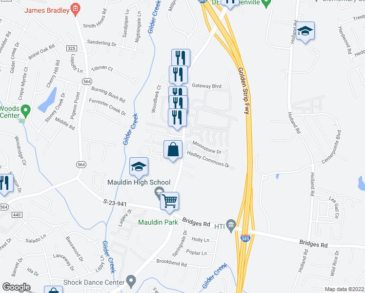 map of restaurants, bars, coffee shops, grocery stores, and more near 110 Auburn Top Ln in Mauldin