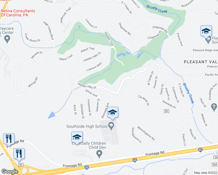 map of restaurants, bars, coffee shops, grocery stores, and more near 208 Hidden Hills Drive in Greenville