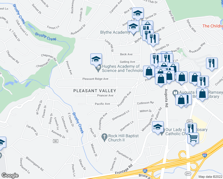 map of restaurants, bars, coffee shops, grocery stores, and more near 309 Potomac Avenue in Greenville