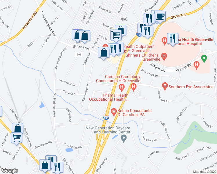 map of restaurants, bars, coffee shops, grocery stores, and more near 18 Butternut Drive in Greenville
