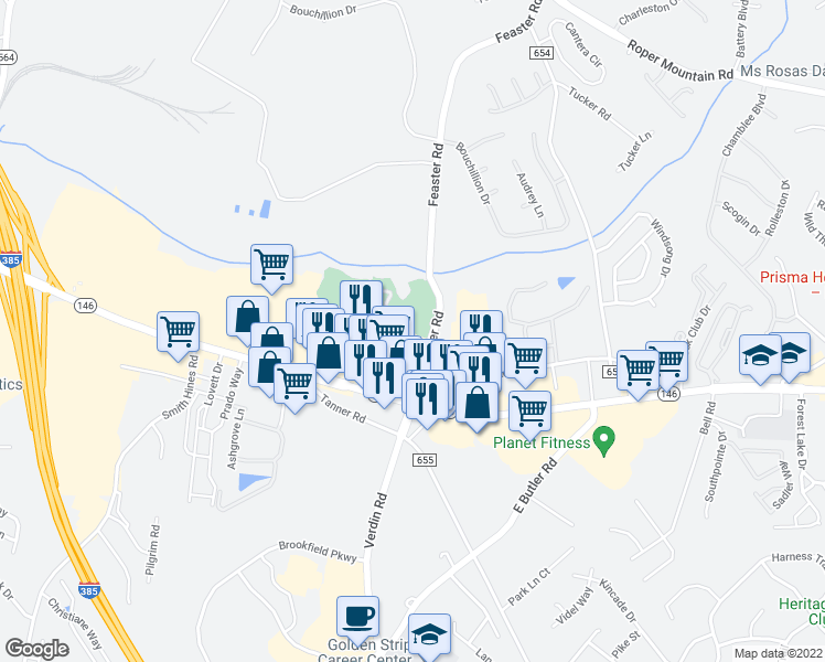 map of restaurants, bars, coffee shops, grocery stores, and more near 227 Walden Creek Way in Greenville
