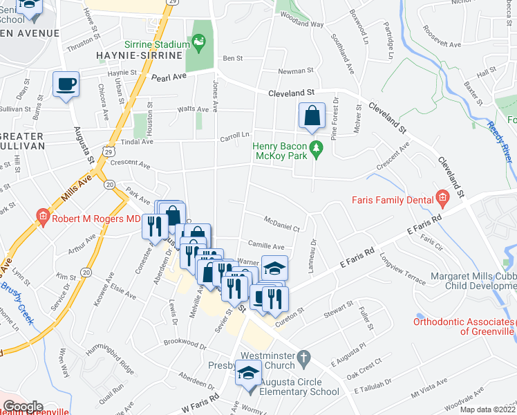 map of restaurants, bars, coffee shops, grocery stores, and more near 7 McDaniel Court in Greenville