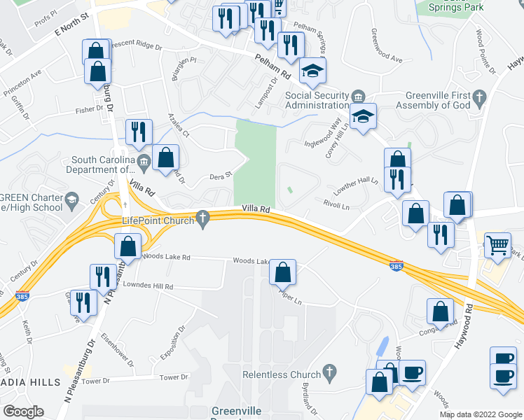 map of restaurants, bars, coffee shops, grocery stores, and more near Interstate 385 in Greenville