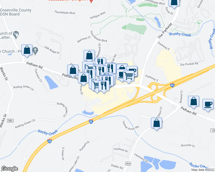 map of restaurants, bars, coffee shops, grocery stores, and more near 3720 Pelham Rd in Greenville